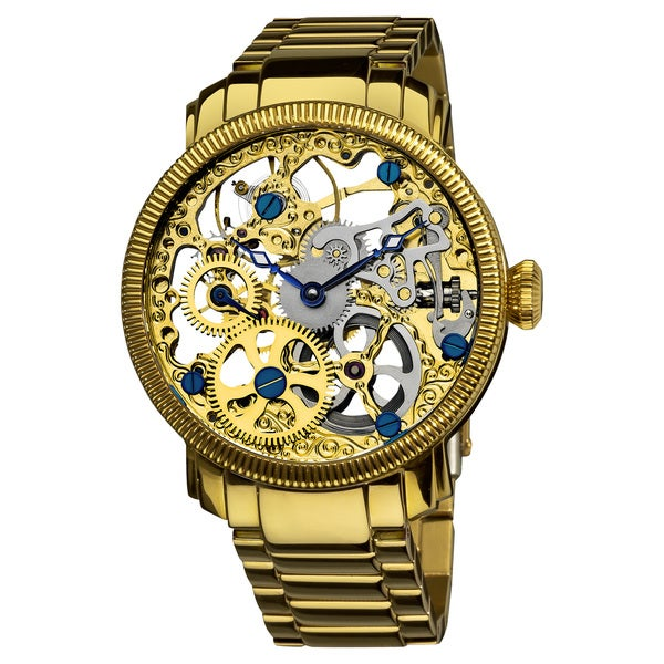 Akribos XXIV Men's Stainless Mechanical Skeleton Gold-Tone Bracelet Watch. Opens flyout.