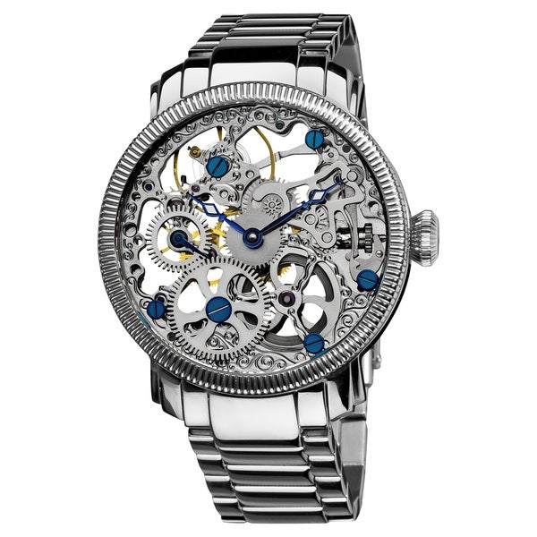 Akribos XXIV Men's Stainless Mechanical Skeleton Silver-Tone Watch with FREE GIFT