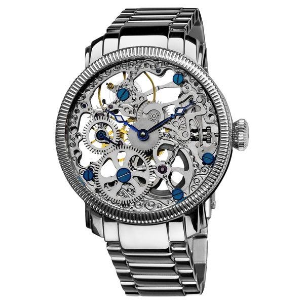 Akribos XXIV Men's Stainless Mechanical Skeleton Silver-Tone Watch