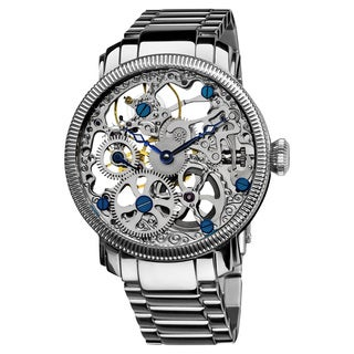 Akribos XXIV Men's Stainless Mechanical Skeleton Silver-Tone Watch