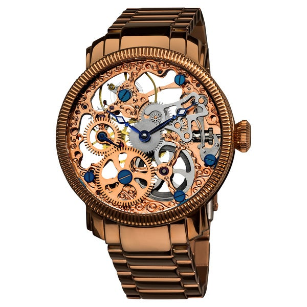 Akribos XXIV Men's Stainless Mechanical Skeleton Rose-Tone Bracelet Watch