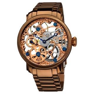 Akribos XXIV Men's Stainless Mechanical Skeleton Rose-Tone Bracelet Watch with FREE GIFT