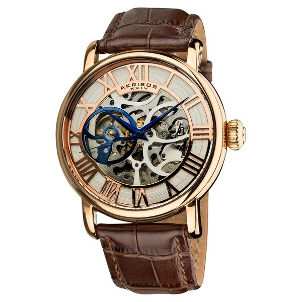 Akribos XXIV Men's Mechanical Skeleton Round Leather Rose-Tone Strap Watch