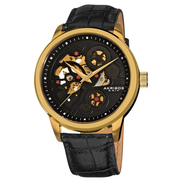 Akribos XXIV Men's Stainless Steel Mechanical Skeleton Leather Gold-Tone Strap Watch with FREE GIFT