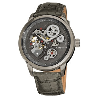 Akribos XXIV Men's Hand-Wind Mechanical Skeleton Leather Grey Strap Watch