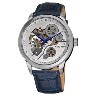 Akribos XXIV Men's Mechanical Skeleton Leather Blue Strap Watch with Gift Box