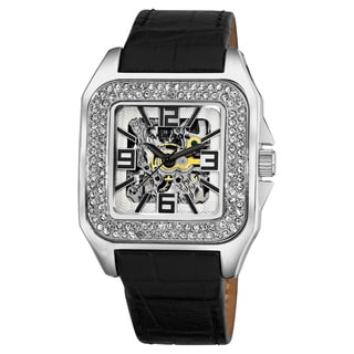 Akribos XXIV Stainless-Steel Square Crystal Skeleton Automatic Watch