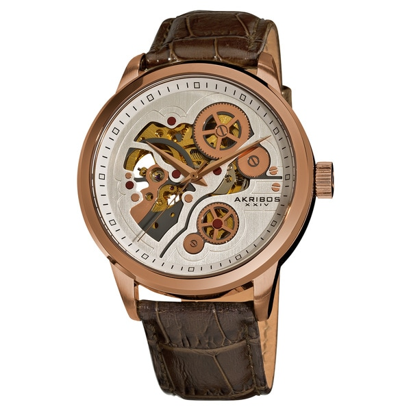 Akribos XXIV Men's Mechanical Skeleton Rose-Tone Leather Brown Strap Watch with FREE GIFT