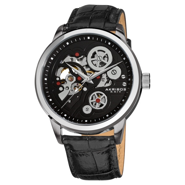 Akribos XXIV Men's Mechanical Skeleton Leather Black Strap Watch with Tang Buckle Clasp