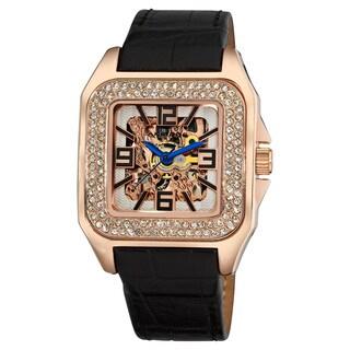 Akribos XXIV Square Crystal Rosetone Skeleton Automatic Watch