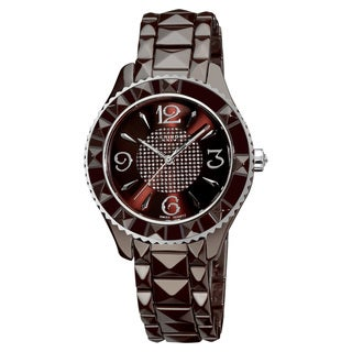 Link to Akribos XXIV Women's Black Ceramic Pyramid-Cut Quartz Brown Watch Similar Items in Women's Watches