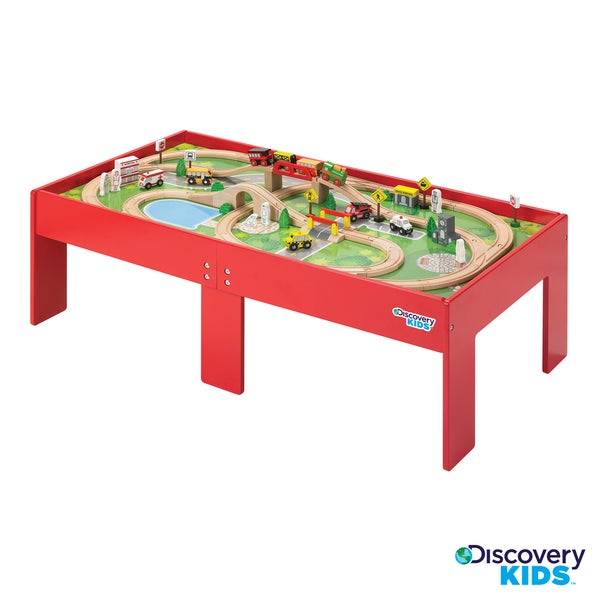 Discovery kids wooden table train set free shipping for Table th ou tr