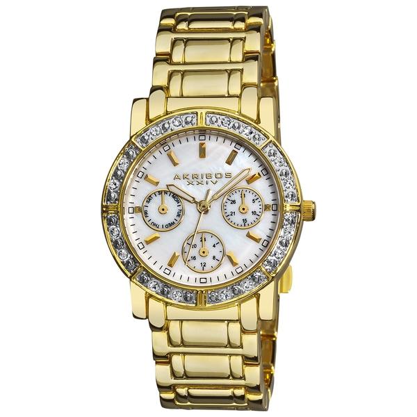 Akribos XXIV Women's Goldtone Crystal Multifunction Bracelet Watch with FREE Bangle
