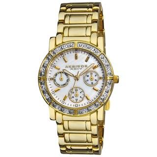 Akribos XXIV Women's Goldtone Crystal Multifunction Bracelet Watch
