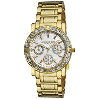 Akribos XXIV Women's Goldtone Crystal Multifunction Bracelet Watch