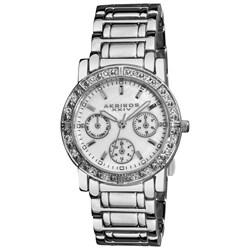 Akribos XXIV Women's Crystal Multifunction Silver-Tone Bracelet Watch