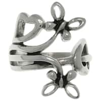 Carolina Glamour Collection Stainless Steel Wrapped Butterfly and Heart Ring
