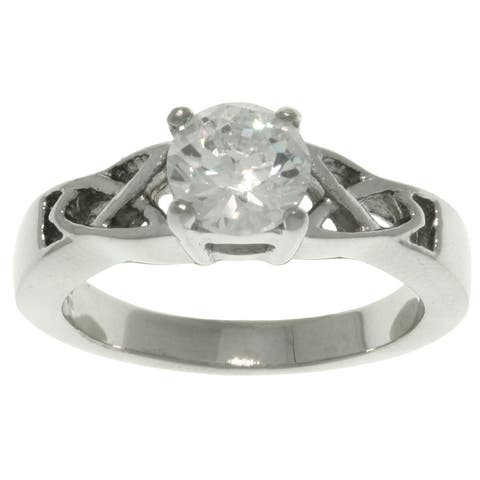 Stainless Steel Cubic Zirconia Solitaire Celtic Frame Ring
