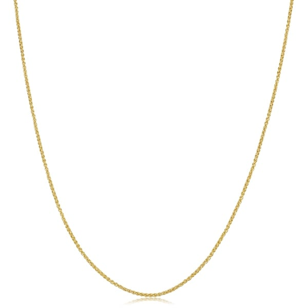 """10k Yellow Gold Round Wheat Necklace Pendant Chain 18/"""" 1.0mm"""