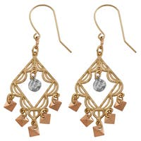 Fremada 14k Tri-color Gold Chandelier Earrings