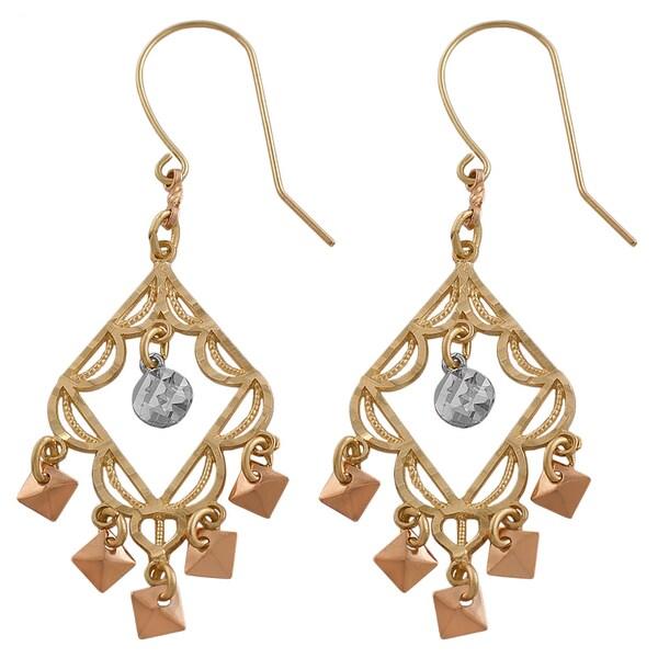 Fremada 14k Tri-color Gold Chandelier Earrings