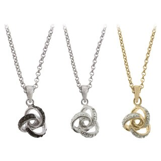 Sterling Silver Diamond Accent Love Knot Necklace by Finesque