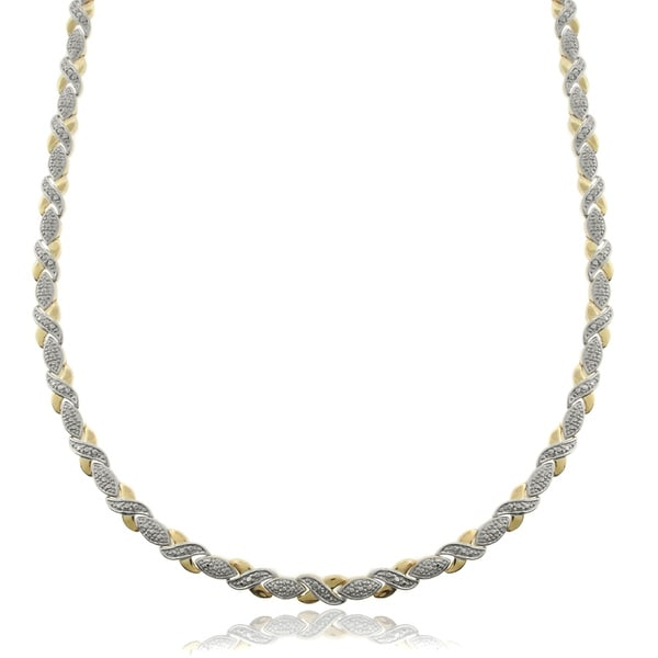 Finesque Two-tone Silverplated Diamond Accent 'XO' Necklace