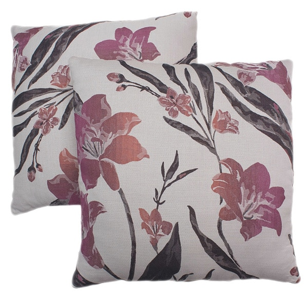ABBYSON LIVING Aries 18-inch White/ Pink Decorative Pillows (Set of 2)