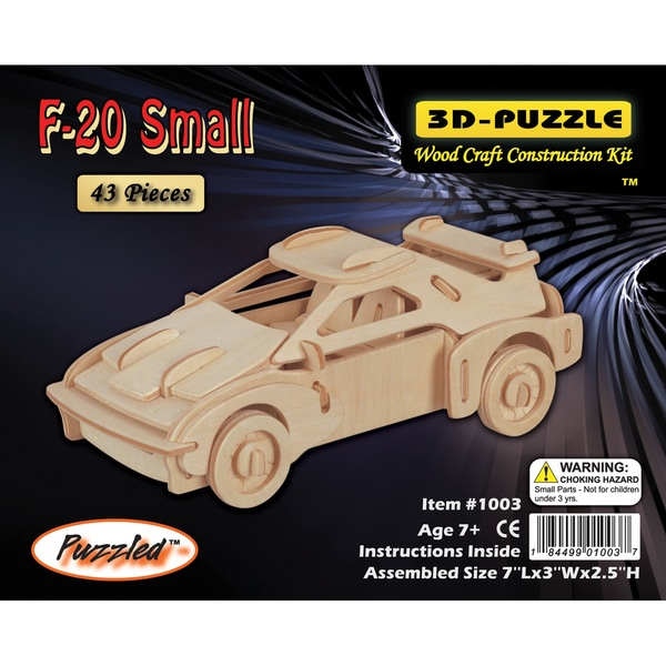 Puzzled F-20 Car 3D Puzzle Wood Craft Construction Kit