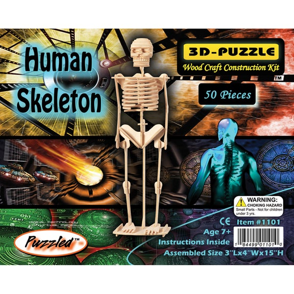 Puzzled Human Skeleton 3D Puzzle Wood Craft Construction Kit