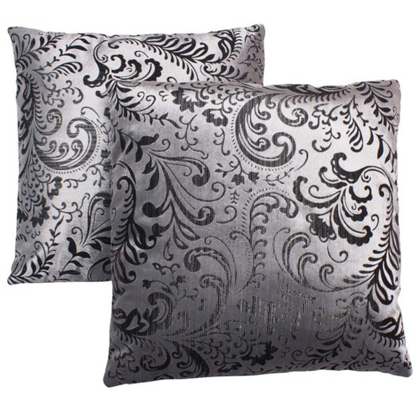 Abbyson Living Composure 18-inch Silver/ Black Decorative Pillows (Set of 2)