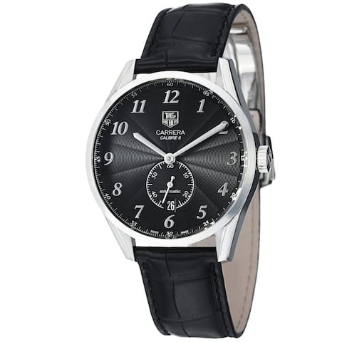 Tag Heuer Men's WAS2110.FC6180 'Carrera' Black Dial Leather Strap Automatic Watch