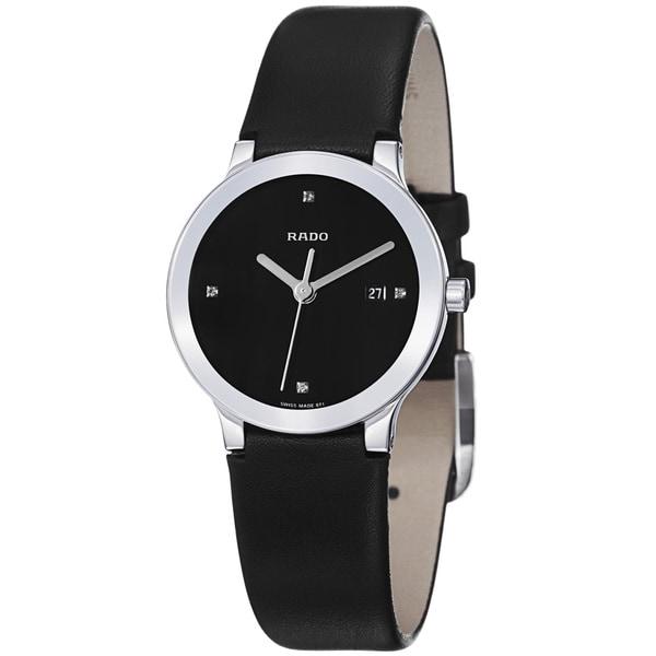 Rado Women's 'Centrix' Black Diamond Dial Black Leather Strap Watch