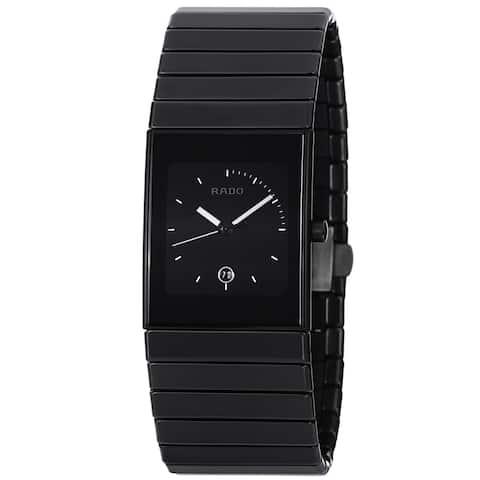 Rado Men's 'Ceramica' Black Dial Black Ceramic Bracelet Quartz Watch