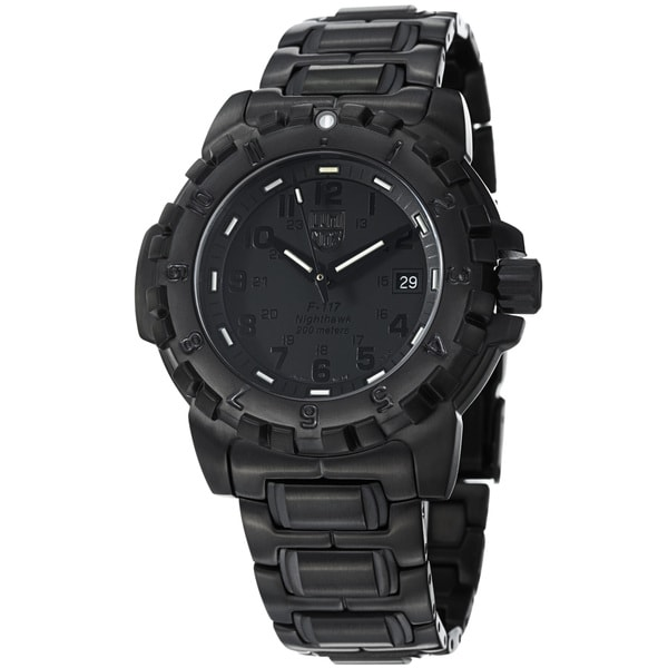 Luminox Men's 'NightHawk' Black Dial Black Stainless Steel Watch