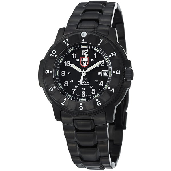 Luminox Men's A.3402 'NightHawk' Black Dial Black Stainless Steel Watch