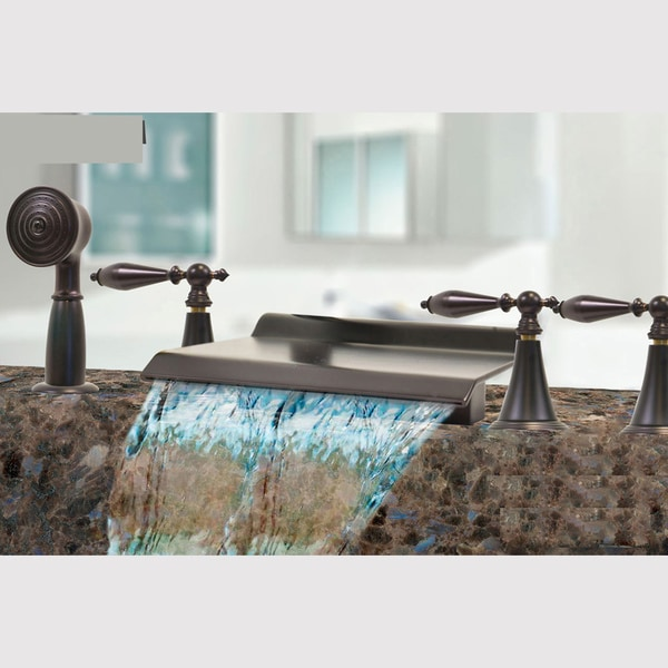 Kokols Oil Rubbed Bronze Waterfall Bath Tub Shower Faucet Set Free Shipping Today Overstock