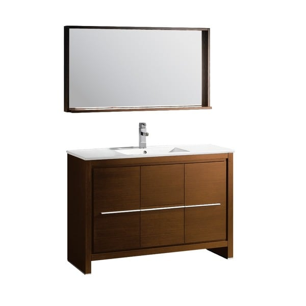 Fresca Allier 48 inch Wenge Brown Modern Bathroom Vanity with Mirror. Fresca Allier 48 inch Wenge Brown Modern Bathroom Vanity with