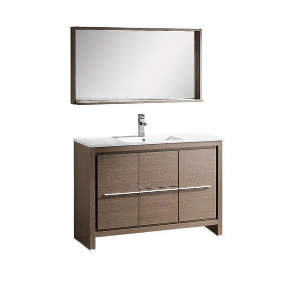Shop fresca allier 48 inch grey oak modern bathroom vanity for 48 inch mirrored bathroom vanity