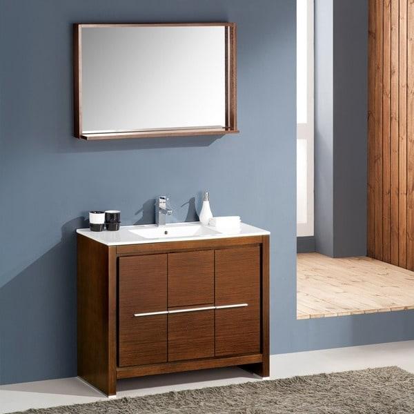 Shop Fresca Allier 40-inch Wenge Brown Modern Bathroom ...
