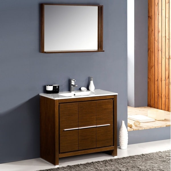 fresca allier 36inch wenge brown modern bathroom vanity with mirror free shipping today