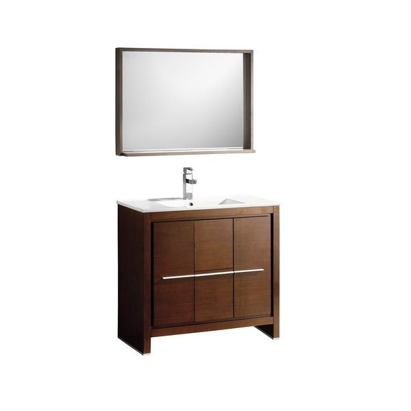 Fresca Allier 36 Inch Wenge Brown Modern Bathroom Vanity With Mirror