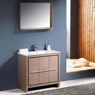 Fresca Allier 36-inch Grey Oak Modern Bathroom Vanity with Mirror