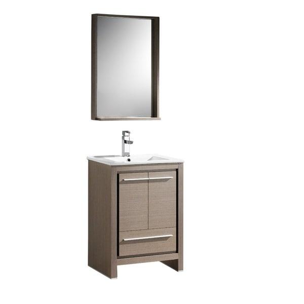 Shop Fresca Allier Inch Grey Oak Modern Bathroom Vanity With - 24 contemporary bathroom vanity