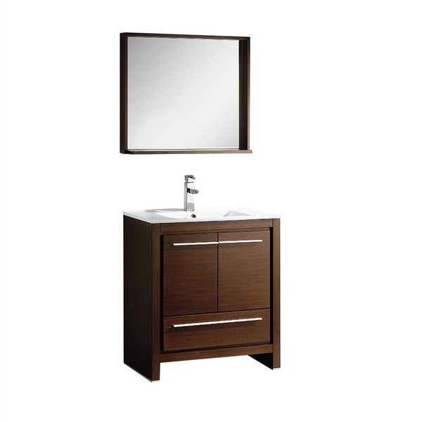Fresca allier 36 inch grey oak modern bathroom vanity with mirror - Fresca Allier 30 Inch Wenge Brown Modern Bathroom Vanity With Mirror