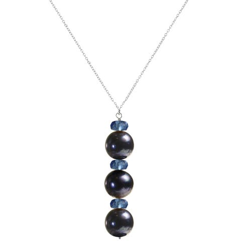 "Black Pearl and Blue Quartz Sterling Silver Handmade 18"" Necklace. Ashanti Jewels"