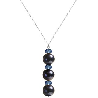 "Black Pearl and Blue Quartz Sterling Silver Handmade 18"" Necklace. Ashanti Jewels"