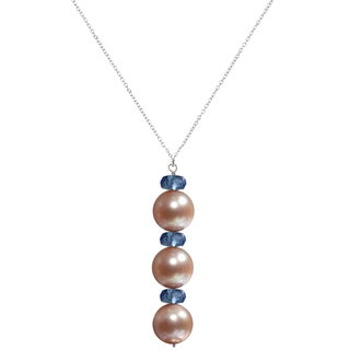 Ashanti Sterling Silver Pink Pearl and Quartz Necklace (Sri Lanka)