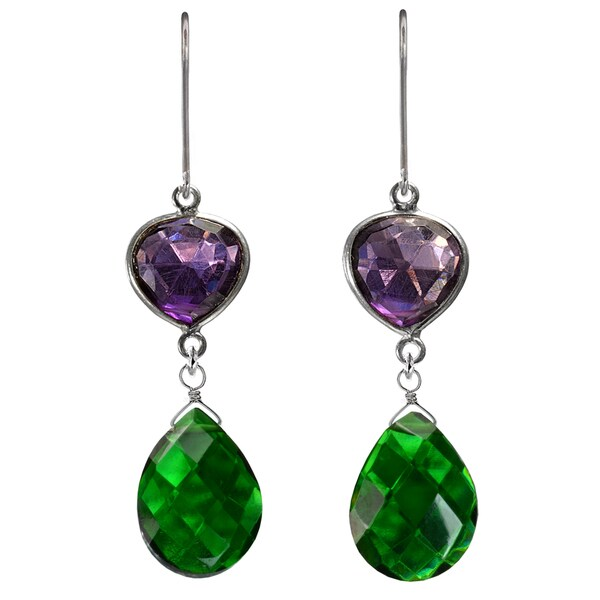 Ashanti Sterling Silver Amethyst and Green Quartz Earrings (Sri Lanka)
