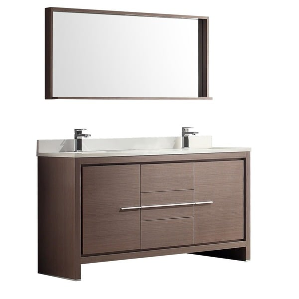 Fresca Allier 60 inch Grey Oak Modern Double Sink Bathroom